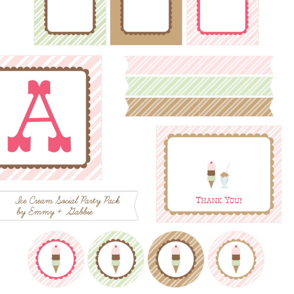 Free Ice Cream Social Printable Party Supplies by Emmy + Gabbie