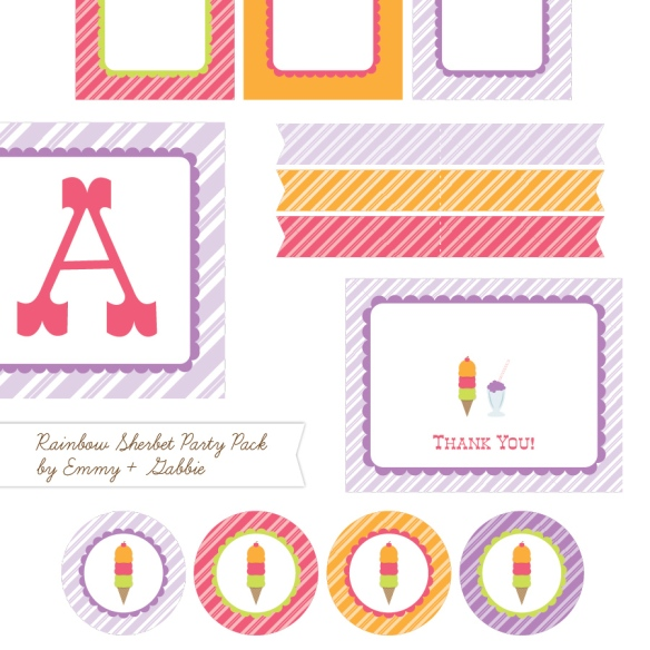 ice cream social free printable party supplies - rainbow sherbet