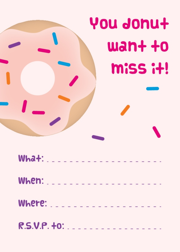 Free Printable Pink Donut Party Invitation